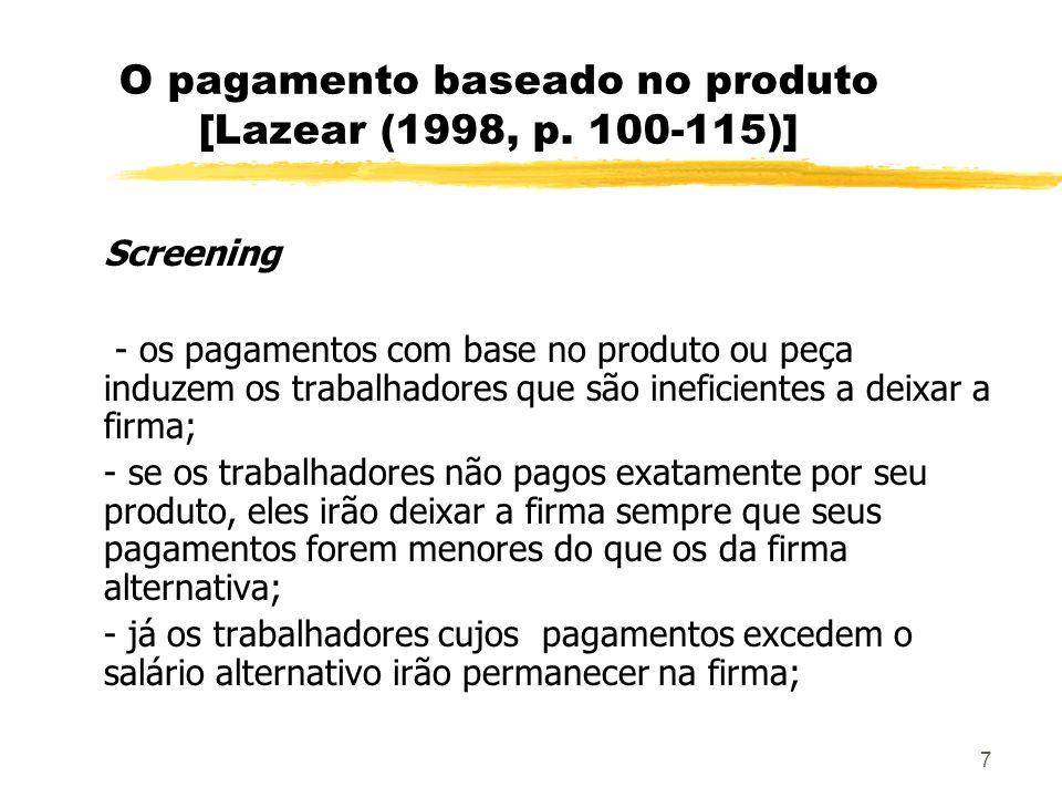 7 O pagamento baseado no produto [Lazear (1998, p. 100-115)] Screening - os pagamentos com base no produto ou peça induzem os trabalhadores que são in