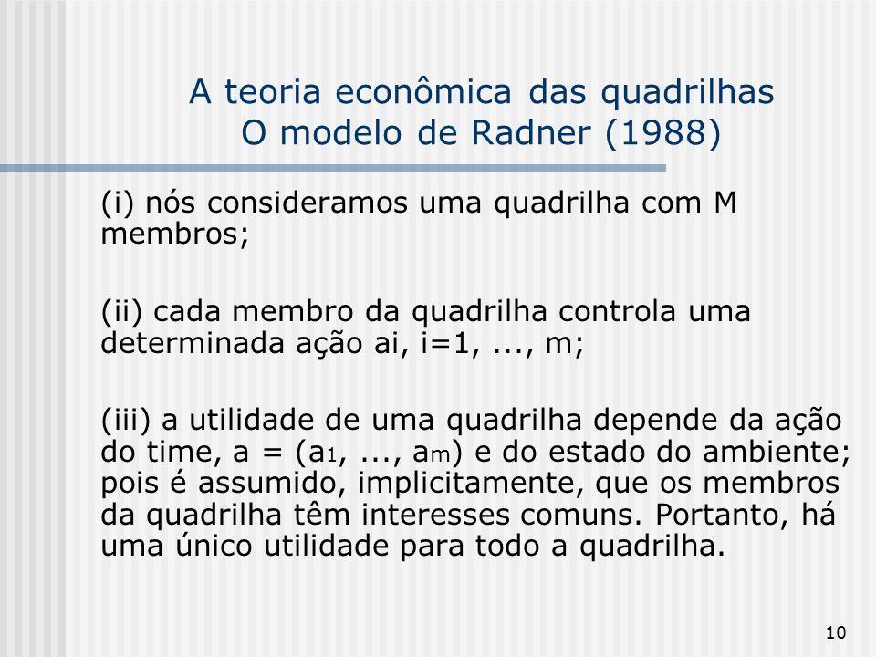 10 A teoria econômica das quadrilhas O modelo de Radner (1988) (i) nós consideramos uma quadrilha com M membros; (ii) cada membro da quadrilha control