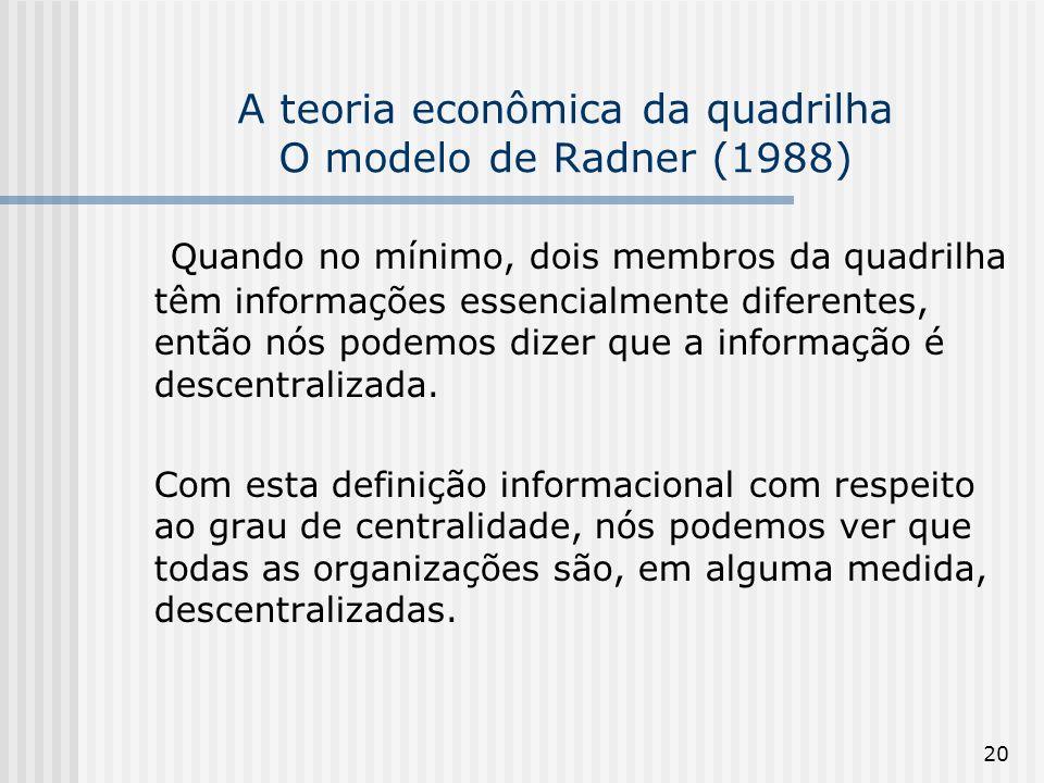 20 A teoria econômica da quadrilha O modelo de Radner (1988) Quando no mínimo, dois membros da quadrilha têm informações essencialmente diferentes, en