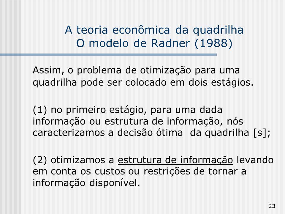 23 A teoria econômica da quadrilha O modelo de Radner (1988) Assim, o problema de otimização para uma quadrilha pode ser colocado em dois estágios. (1