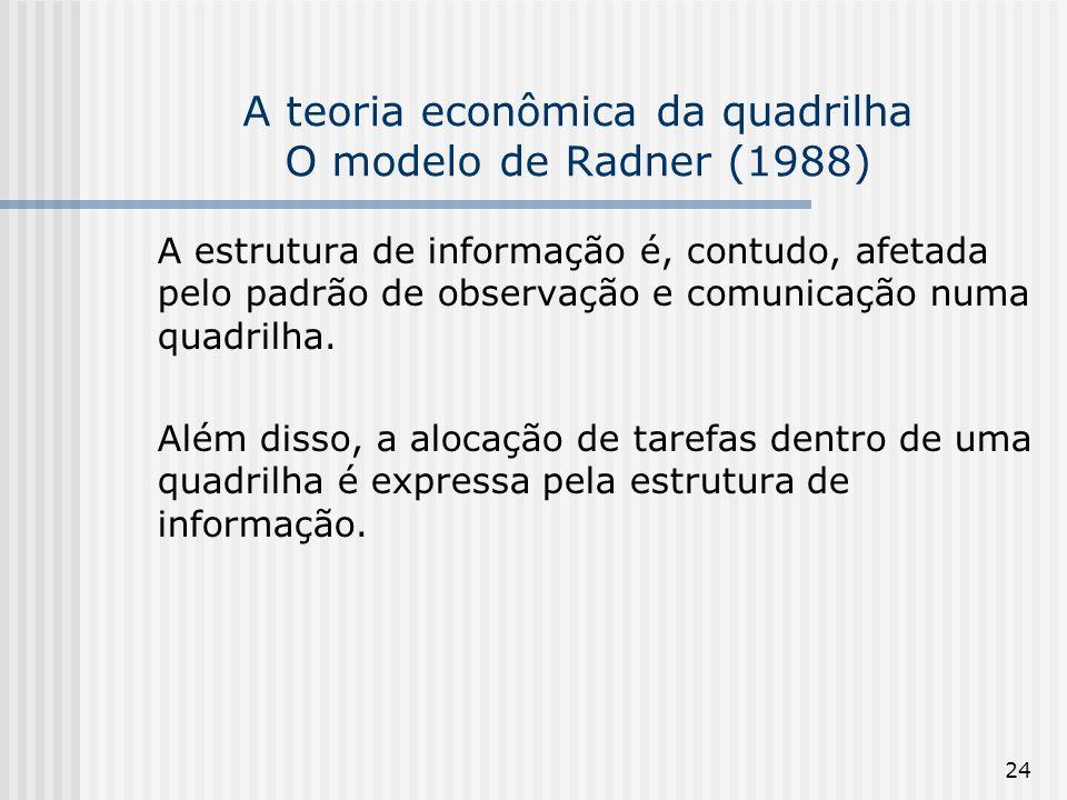 24 A teoria econômica da quadrilha O modelo de Radner (1988) A estrutura de informação é, contudo, afetada pelo padrão de observação e comunicação num