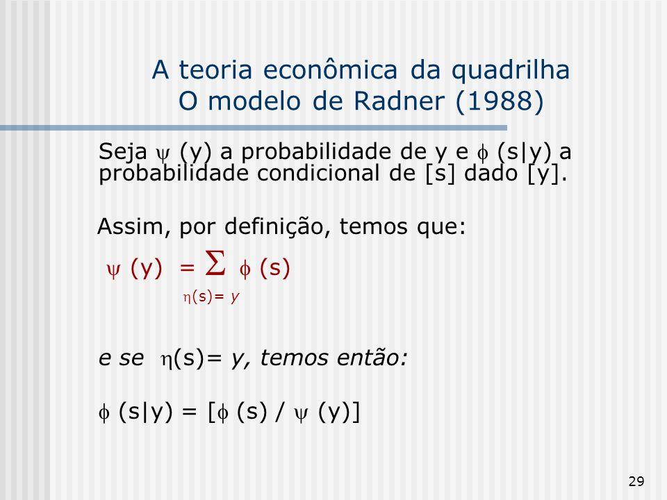 29 A teoria econômica da quadrilha O modelo de Radner (1988) Seja (y) a probabilidade de y e (s|y) a probabilidade condicional de [s] dado [y]. Assim,