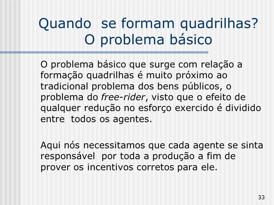 33 Quando se formam quadrilhas? O problema básico O problema básico que surge com relação a formação quadrilhas é muito próximo ao tradicional problem