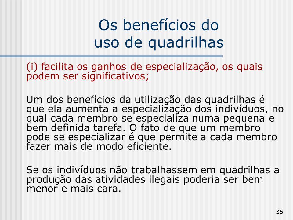 35 Os benefícios do uso de quadrilhas (i) facilita os ganhos de especialização, os quais podem ser significativos; Um dos benefícios da utilização das