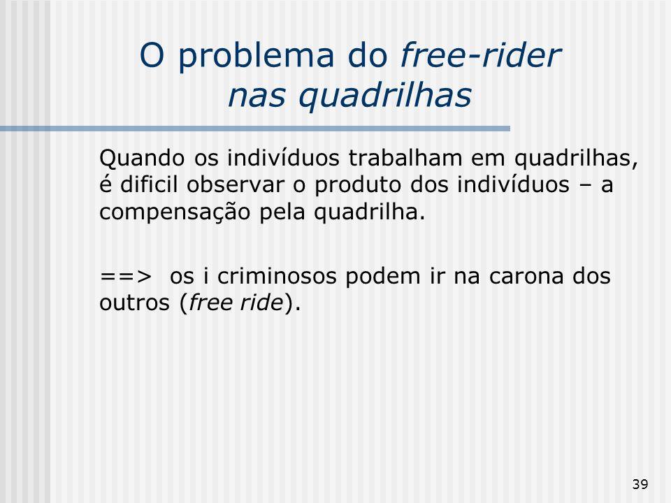 39 O problema do free-rider nas quadrilhas Quando os indivíduos trabalham em quadrilhas, é dificil observar o produto dos indivíduos – a compensação p