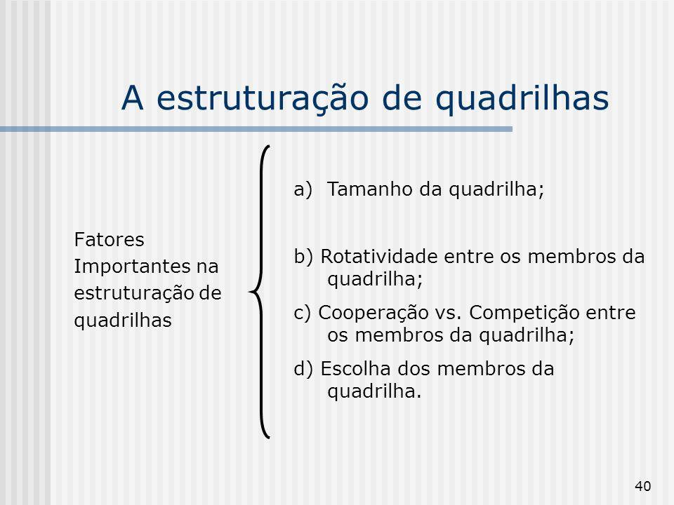 40 A estruturação de quadrilhas Fatores Importantes na estruturação de quadrilhas a)Tamanho da quadrilha; b) Rotatividade entre os membros da quadrilh
