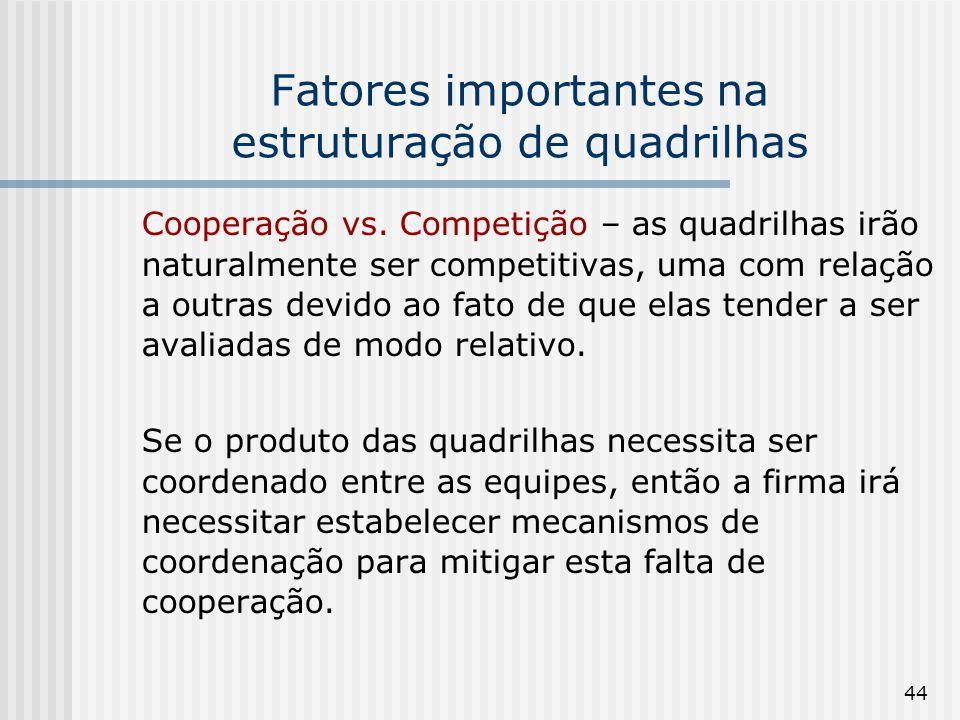 44 Fatores importantes na estruturação de quadrilhas Cooperação vs. Competição – as quadrilhas irão naturalmente ser competitivas, uma com relação a o