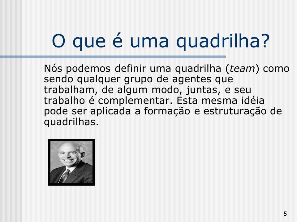 5 O que é uma quadrilha? Nós podemos definir uma quadrilha (team) como sendo qualquer grupo de agentes que trabalham, de algum modo, juntas, e seu tra