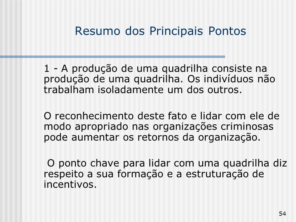 54 Resumo dos Principais Pontos 1 - A produção de uma quadrilha consiste na produção de uma quadrilha. Os indivíduos não trabalham isoladamente um dos