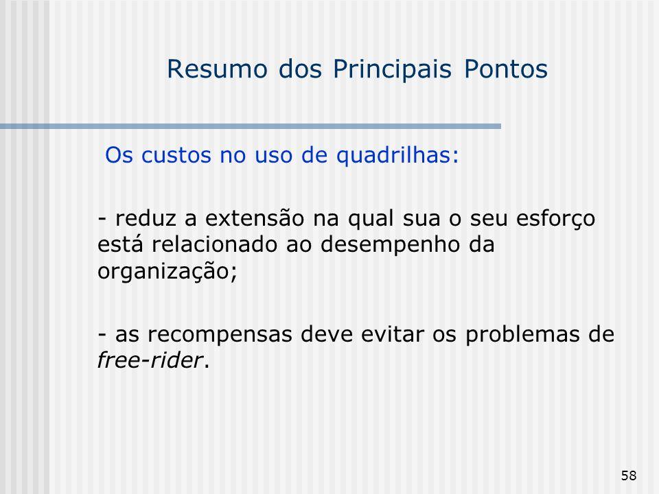 58 Resumo dos Principais Pontos Os custos no uso de quadrilhas: - reduz a extensão na qual sua o seu esforço está relacionado ao desempenho da organiz