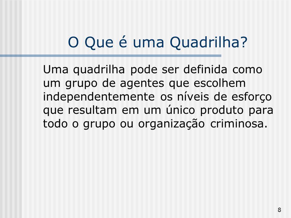 8 O Que é uma Quadrilha? Uma quadrilha pode ser definida como um grupo de agentes que escolhem independentemente os níveis de esforço que resultam em