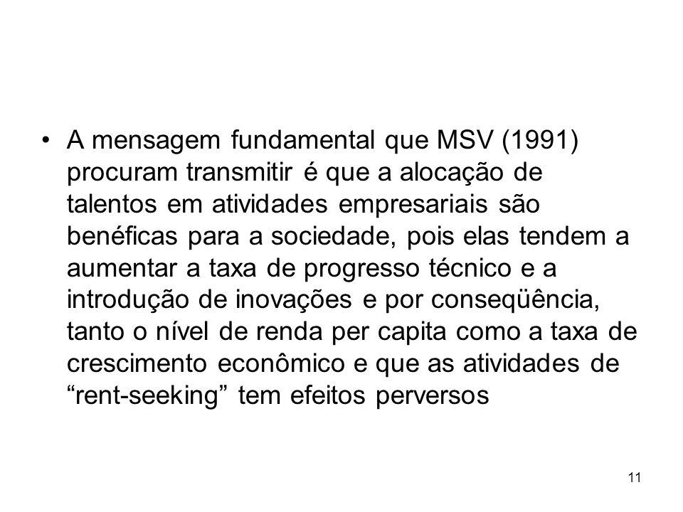 11 A mensagem fundamental que MSV (1991) procuram transmitir é que a alocação de talentos em atividades empresariais são benéficas para a sociedade, p