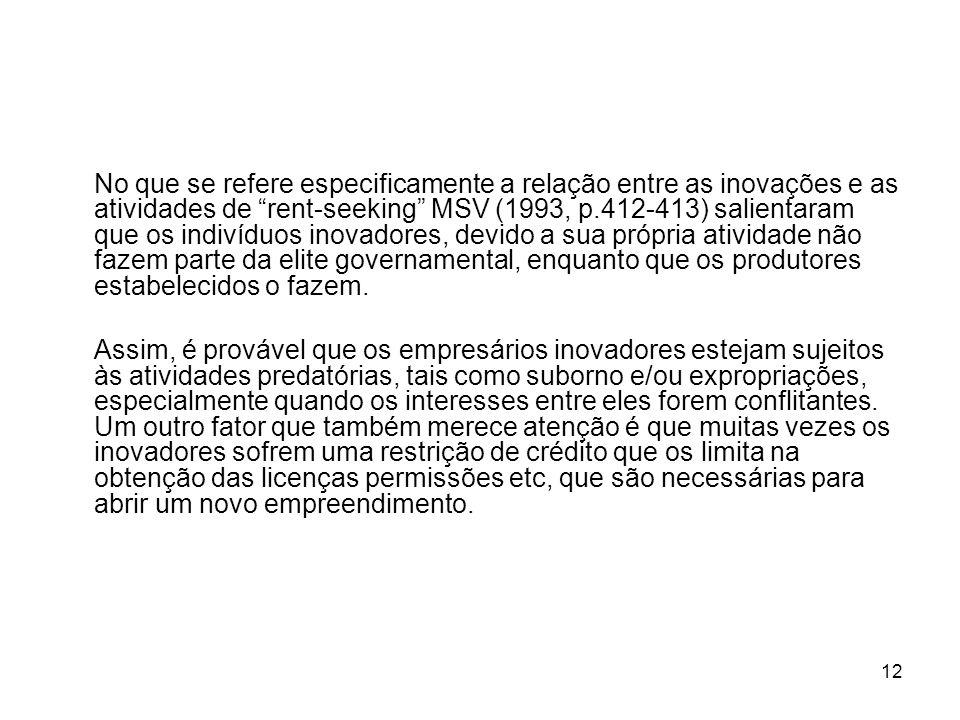 12 No que se refere especificamente a relação entre as inovações e as atividades de rent-seeking MSV (1993, p.412-413) salientaram que os indivíduos i