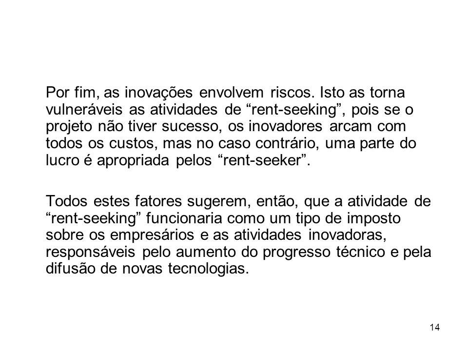 14 Por fim, as inovações envolvem riscos. Isto as torna vulneráveis as atividades de rent-seeking, pois se o projeto não tiver sucesso, os inovadores