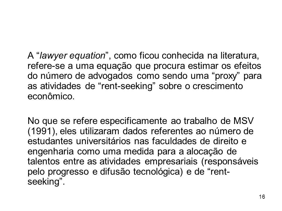 16 A lawyer equation, como ficou conhecida na literatura, refere-se a uma equação que procura estimar os efeitos do número de advogados como sendo uma proxy para as atividades de rent-seeking sobre o crescimento econômico.