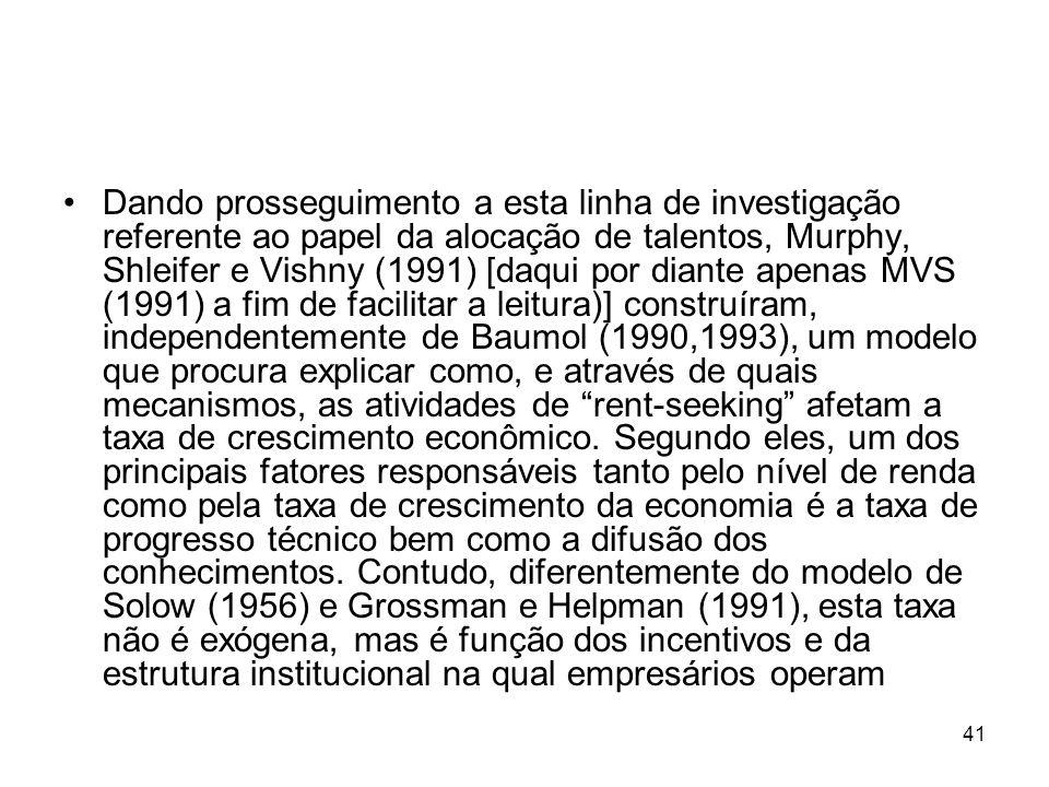 41 Dando prosseguimento a esta linha de investigação referente ao papel da alocação de talentos, Murphy, Shleifer e Vishny (1991) [daqui por diante ap