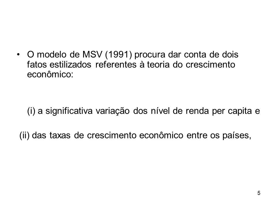 5 O modelo de MSV (1991) procura dar conta de dois fatos estilizados referentes à teoria do crescimento econômico: (i) a significativa variação dos nível de renda per capita e (ii) das taxas de crescimento econômico entre os países,