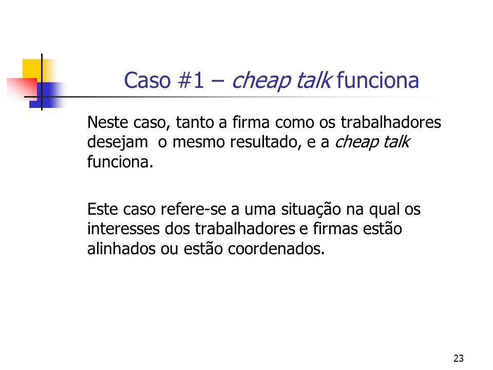 23 Caso #1 – cheap talk funciona Neste caso, tanto a firma como os trabalhadores desejam o mesmo resultado, e a cheap talk funciona.