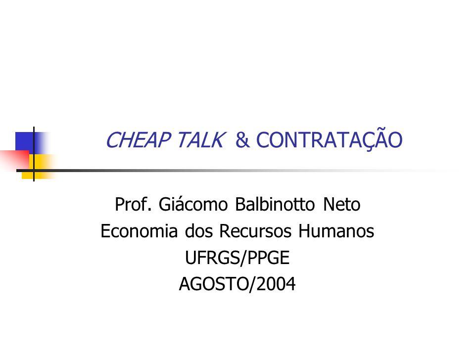 CHEAP TALK & CONTRATAÇÃO Prof.