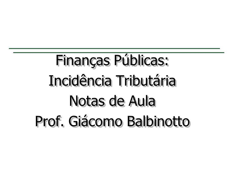 Finanças Públicas: Incidência Tributária Notas de Aula Prof. Giácomo Balbinotto Finanças Públicas: Incidência Tributária Notas de Aula Prof. Giácomo B