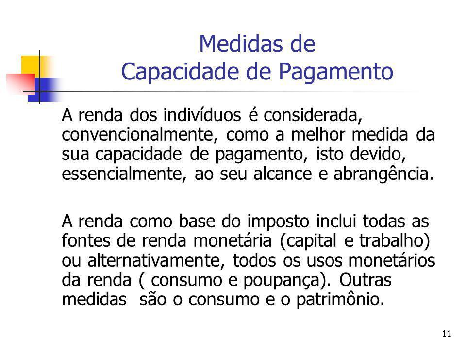 11 Medidas de Capacidade de Pagamento A renda dos indivíduos é considerada, convencionalmente, como a melhor medida da sua capacidade de pagamento, is