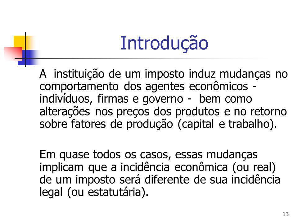 13 Introdução A instituição de um imposto induz mudanças no comportamento dos agentes econômicos - indivíduos, firmas e governo - bem como alterações