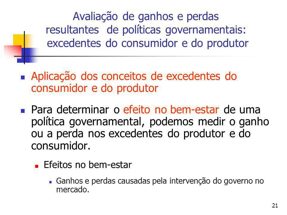 21 Aplicação dos conceitos de excedentes do consumidor e do produtor Para determinar o efeito no bem-estar de uma política governamental, podemos medi