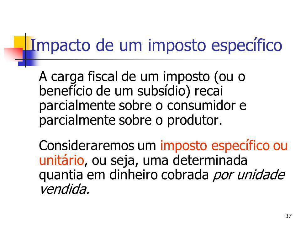 37 Impacto de um imposto específico A carga fiscal de um imposto (ou o benefício de um subsídio) recai parcialmente sobre o consumidor e parcialmente
