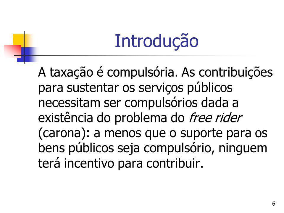 6 Introdução A taxação é compulsória. As contribuições para sustentar os serviços públicos necessitam ser compulsórios dada a existência do problema d