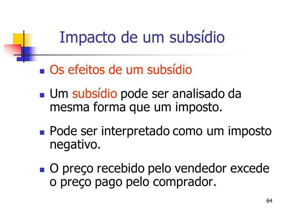 64 Impacto de um subsídio Os efeitos de um subsídio Um subsídio pode ser analisado da mesma forma que um imposto. Pode ser interpretado como um impost