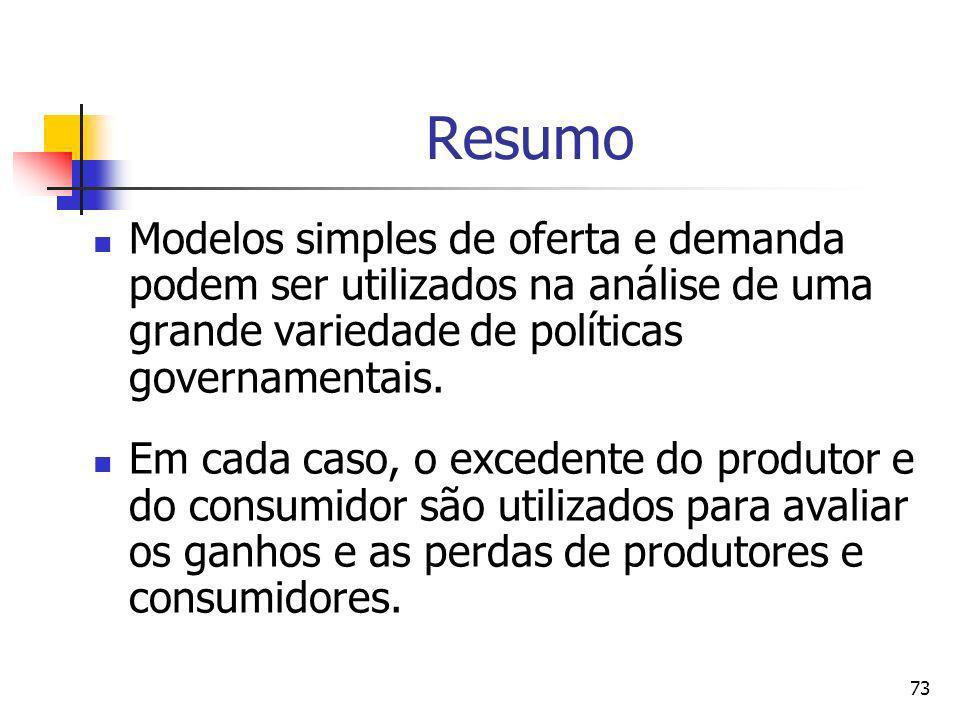 73 Resumo Modelos simples de oferta e demanda podem ser utilizados na análise de uma grande variedade de políticas governamentais. Em cada caso, o exc