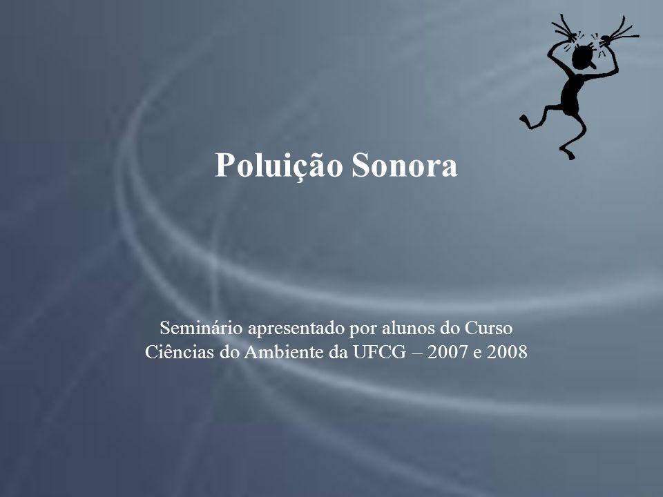Poluição Sonora Seminário apresentado por alunos do Curso Ciências do Ambiente da UFCG – 2007 e 2008