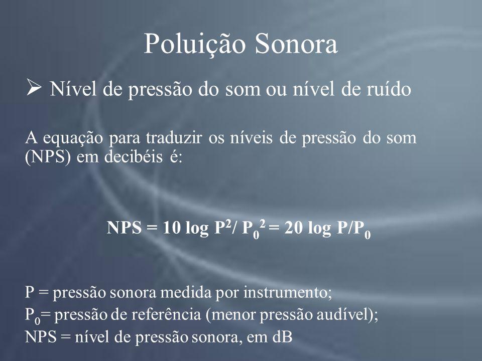 Poluição Sonora Nível de pressão do som ou nível de ruído A equação para traduzir os níveis de pressão do som (NPS) em decibéis é: NPS = 10 log P 2 / P 0 2 = 20 log P/P 0 P = pressão sonora medida por instrumento; P 0 = pressão de referência (menor pressão audível); NPS = nível de pressão sonora, em dB