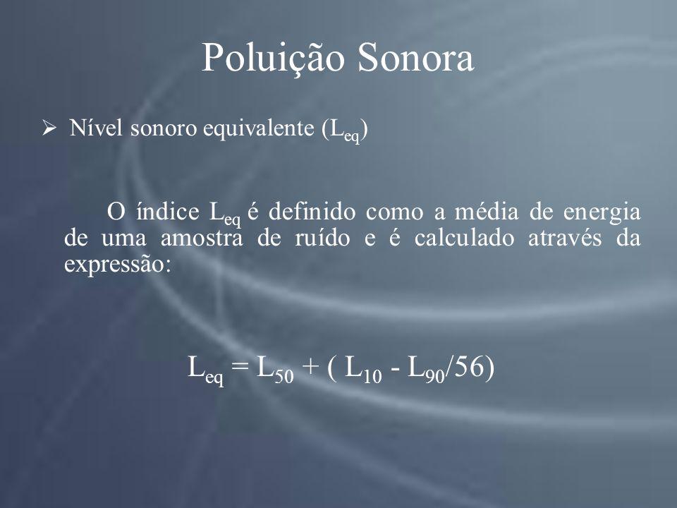 Poluição Sonora Nível sonoro equivalente (L eq ) O índice L eq é definido como a média de energia de uma amostra de ruído e é calculado através da expressão: L eq = L 50 + ( L 10 - L 90 /56)