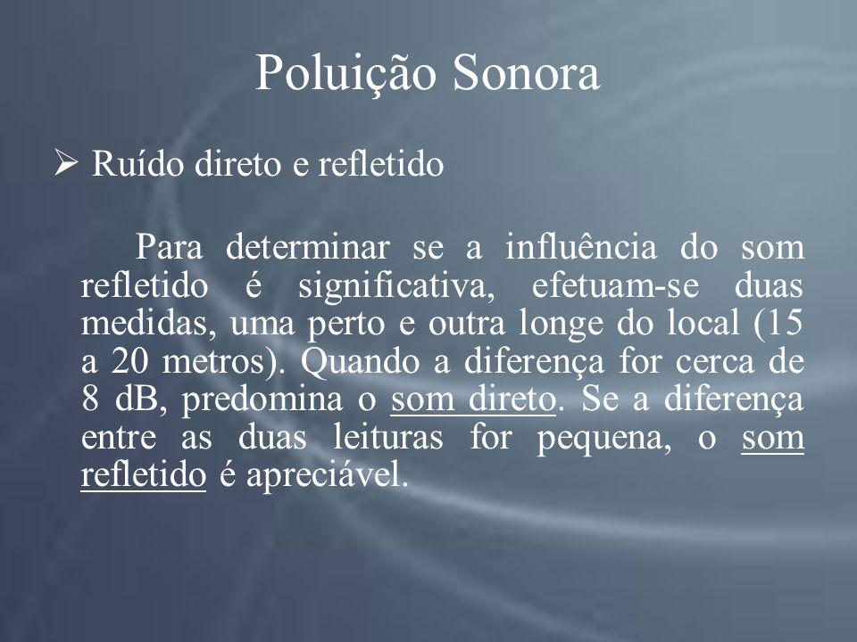 Poluição Sonora Ruído direto e refletido Para determinar se a influência do som refletido é significativa, efetuam-se duas medidas, uma perto e outra longe do local (15 a 20 metros).