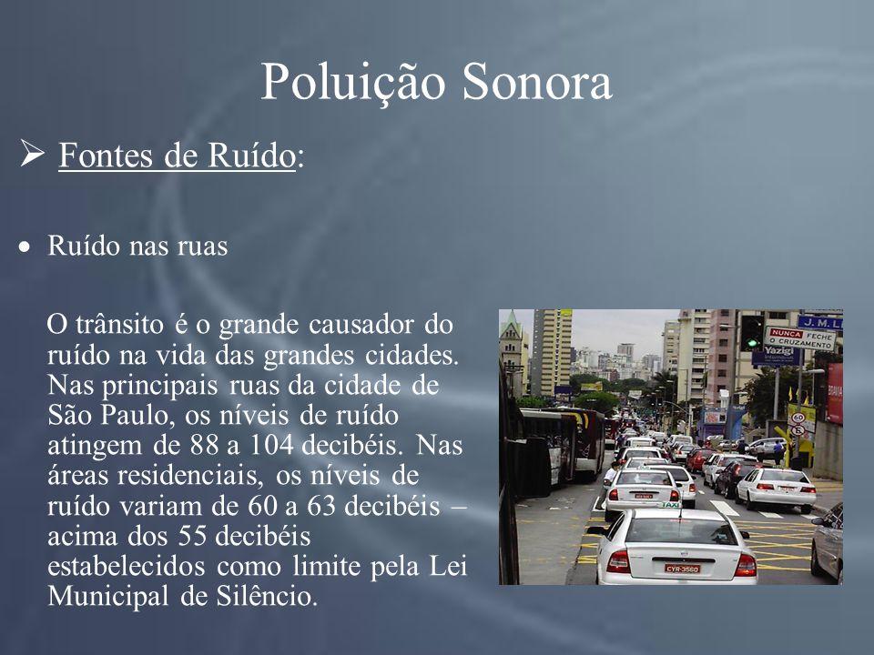 Poluição Sonora Fontes de Ruído: Ruído nas ruas O trânsito é o grande causador do ruído na vida das grandes cidades.