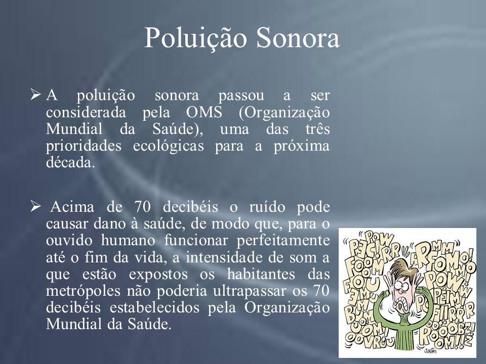 Poluição Sonora A poluição sonora passou a ser considerada pela OMS (Organização Mundial da Saúde), uma das três prioridades ecológicas para a próxima década.
