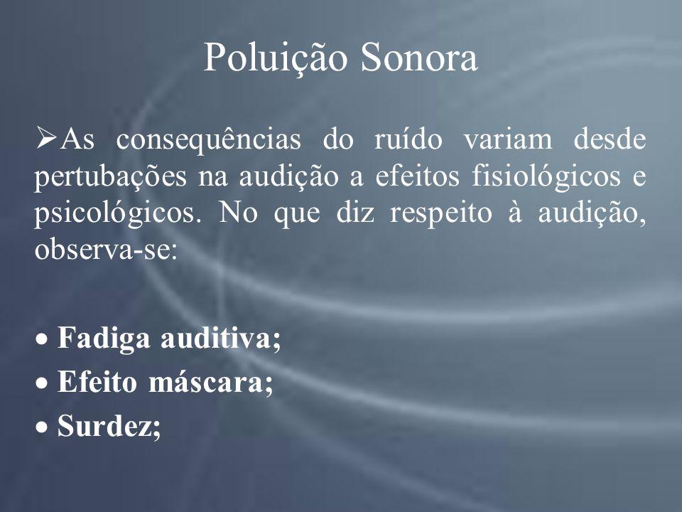 Poluição Sonora As consequências do ruído variam desde pertubações na audição a efeitos fisiológicos e psicológicos.