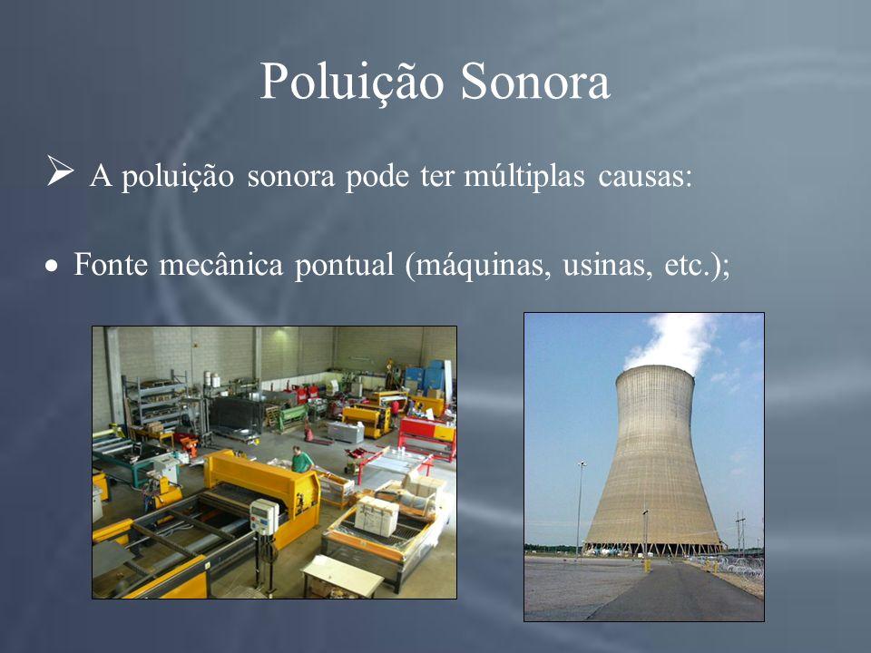 Poluição Sonora A poluição sonora pode ter múltiplas causas: Fonte mecânica pontual (máquinas, usinas, etc.);