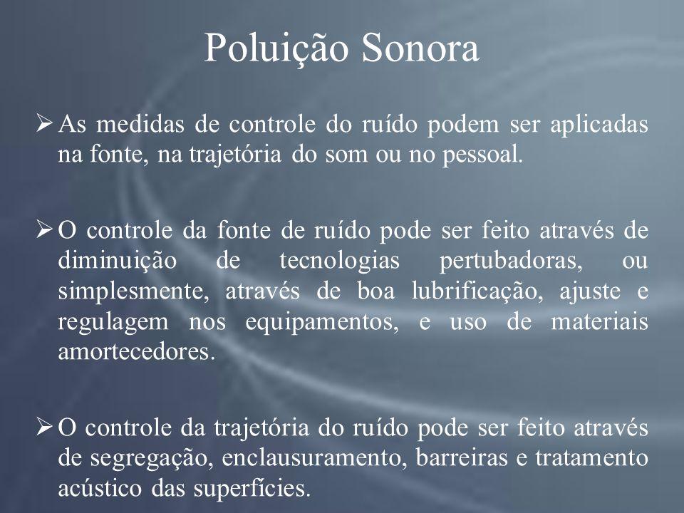Poluição Sonora As medidas de controle do ruído podem ser aplicadas na fonte, na trajetória do som ou no pessoal.