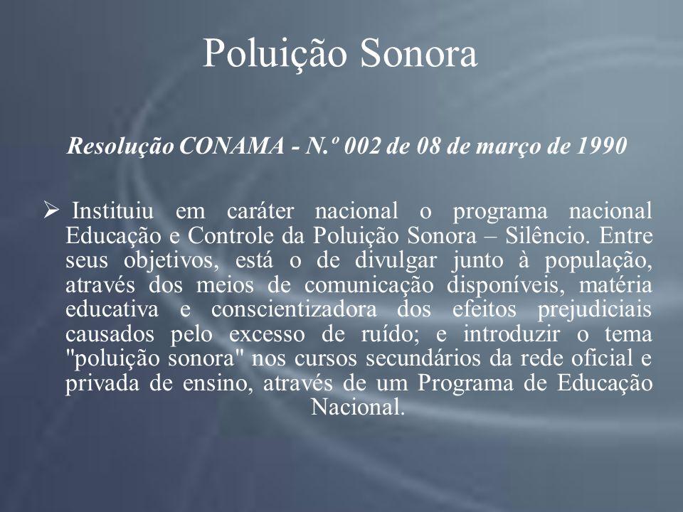 Poluição Sonora Resolução CONAMA - N.º 002 de 08 de março de 1990 Instituiu em caráter nacional o programa nacional Educação e Controle da Poluição Sonora – Silêncio.