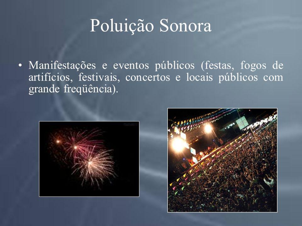 Poluição Sonora Manifestações e eventos públicos (festas, fogos de artifícios, festivais, concertos e locais públicos com grande freqüência).