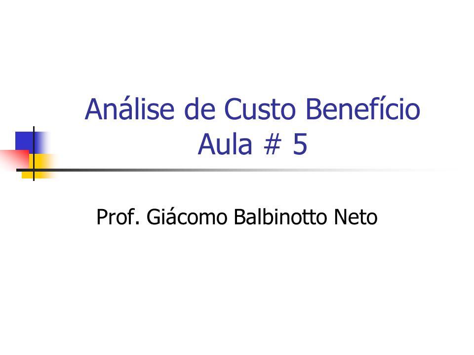 Análise de Custo Benefício Aula # 5 Prof. Giácomo Balbinotto Neto