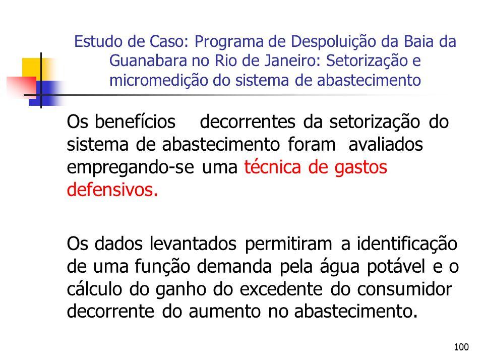 100 Estudo de Caso: Programa de Despoluição da Baia da Guanabara no Rio de Janeiro: Setorização e micromedição do sistema de abastecimento Os benefícios decorrentes da setorização do sistema de abastecimento foram avaliados empregando-se uma técnica de gastos defensivos.