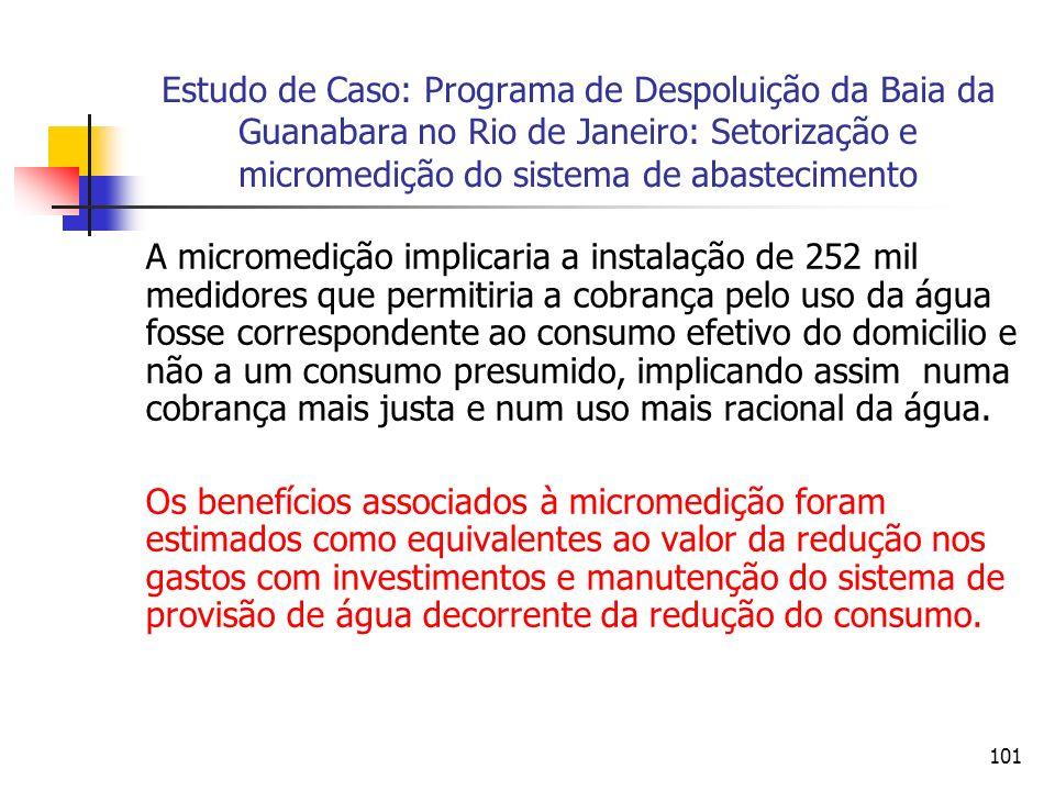 101 Estudo de Caso: Programa de Despoluição da Baia da Guanabara no Rio de Janeiro: Setorização e micromedição do sistema de abastecimento A micromedi