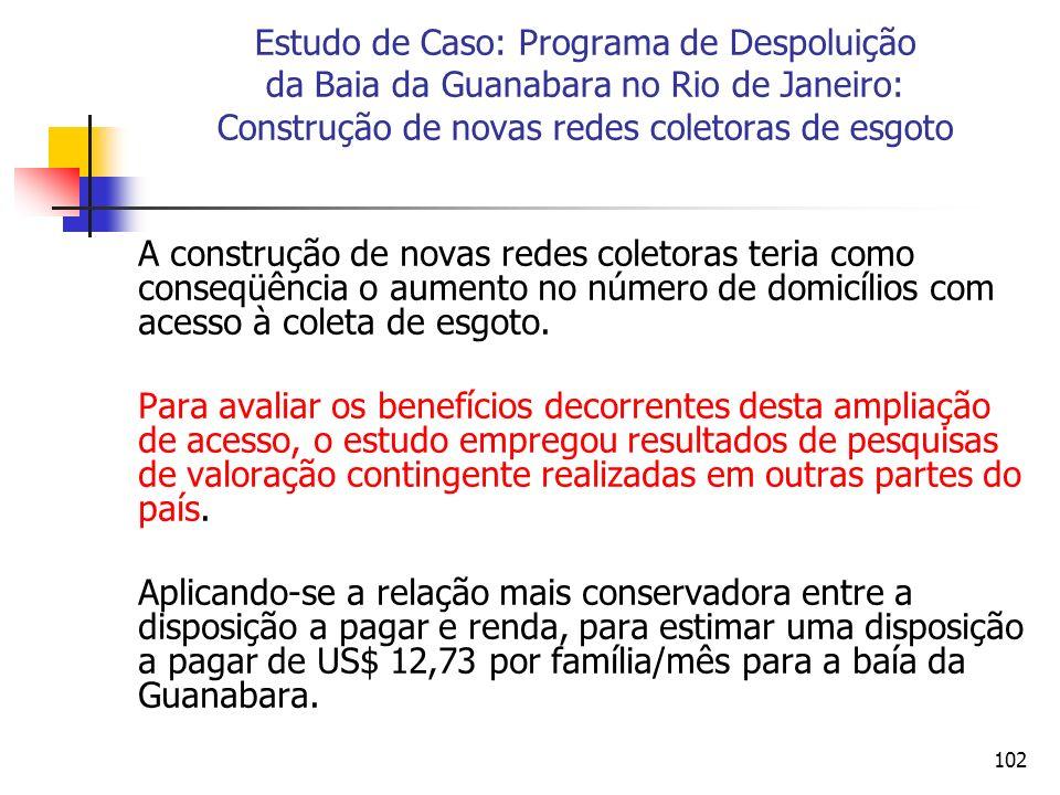 102 Estudo de Caso: Programa de Despoluição da Baia da Guanabara no Rio de Janeiro: Construção de novas redes coletoras de esgoto A construção de novas redes coletoras teria como conseqüência o aumento no número de domicílios com acesso à coleta de esgoto.