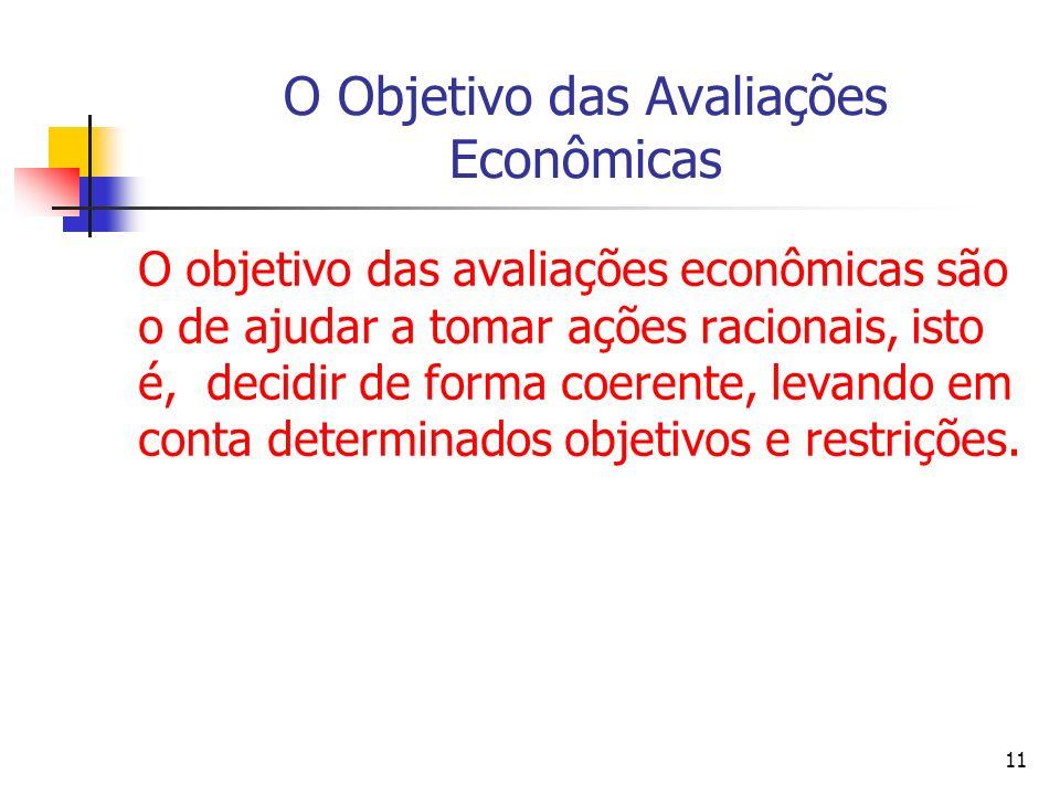11 O Objetivo das Avaliações Econômicas O objetivo das avaliações econômicas são o de ajudar a tomar ações racionais, isto é, decidir de forma coerente, levando em conta determinados objetivos e restrições.