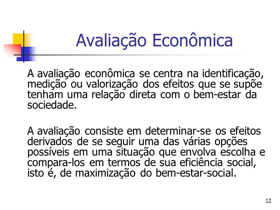 12 Avaliação Econômica A avaliação econômica se centra na identificação, medição ou valorização dos efeitos que se supõe tenham uma relação direta com