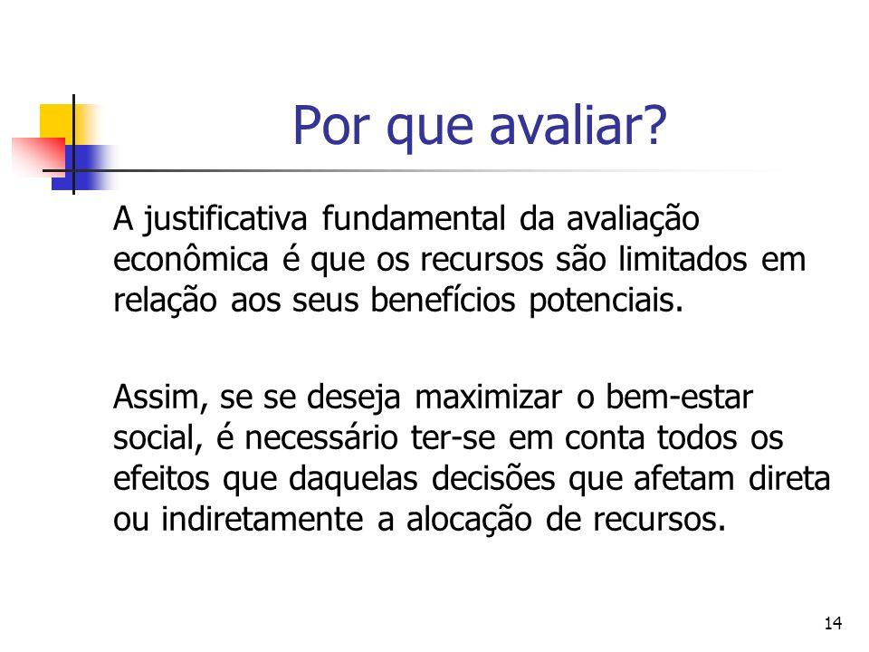 14 Por que avaliar? A justificativa fundamental da avaliação econômica é que os recursos são limitados em relação aos seus benefícios potenciais. Assi