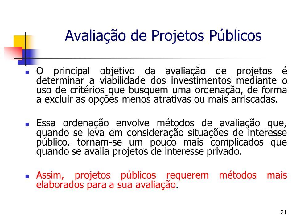 21 Avaliação de Projetos Públicos O principal objetivo da avaliação de projetos é determinar a viabilidade dos investimentos mediante o uso de critérios que busquem uma ordenação, de forma a excluir as opções menos atrativas ou mais arriscadas.